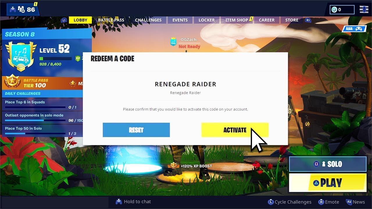 Renegade Raider Codes In Fortnite Youtube