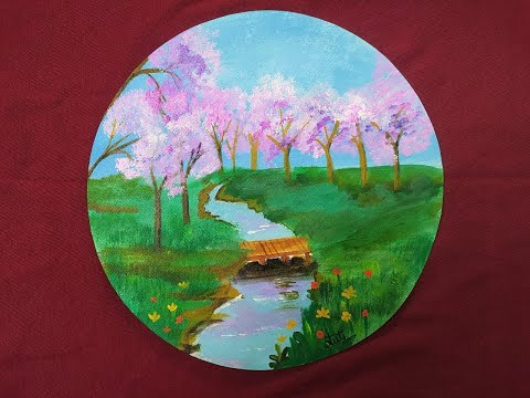 Landscape painting / Easy acrylic painting / Canvas painting.