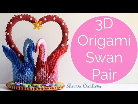 3D Origami Swan Pair/ DIY Valentine's Day Love Birds Showpiece