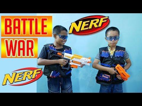Lagu Video Nerf War Battle Indo - Permainan Anak Tembak Tembakan Mainan Anak Kecil Kereta Api Mainan Game Terbaru