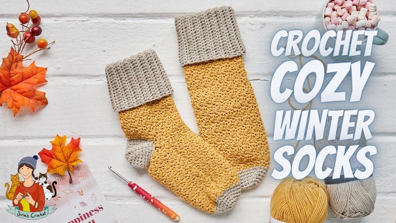 Crochet Cozy Winter Socks / Easy Free Pattern