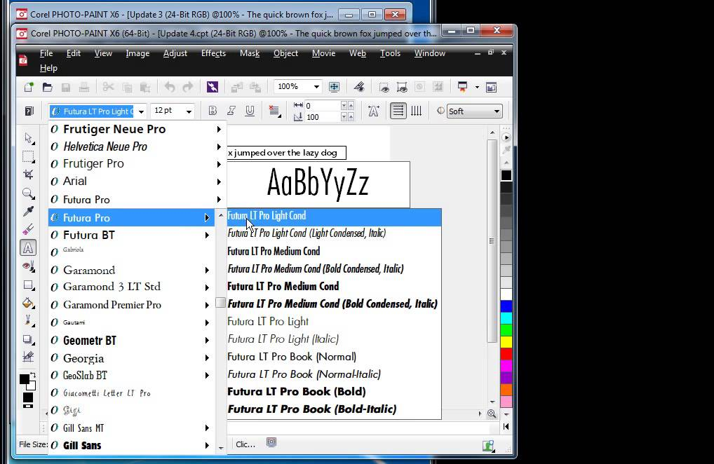 CorelDRAW Graphics Suite X6 4 Update - Improved Font list