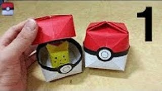 517 포켓몬 GO (포켓볼)2 - 1 색종이접기  Origami paper pokeball 종이접기 Pokemon Go  摺紙 折纸 оригами 折り紙  اوريغامي