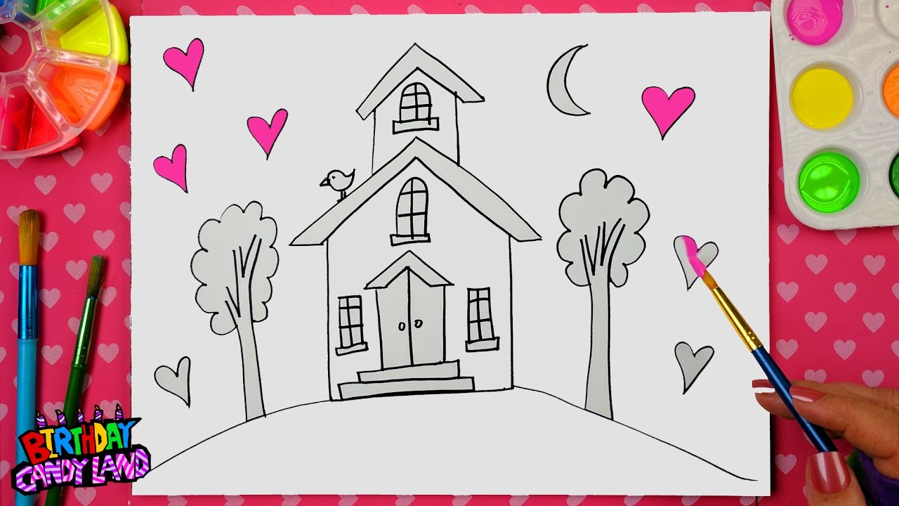 Wonderful How To Draw A House | Draw Color And Paint Tall House With Bird Coloring  Page For Kids Learn Drawing
