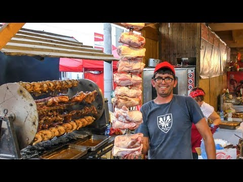 The King of Rotisserie! Huge Ribs, Sausages, Loins and More Roasted Meat. Italy Street Food