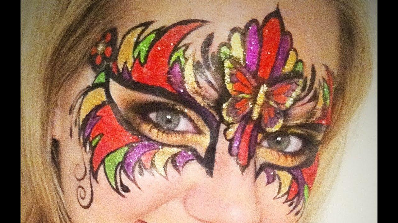 mardi gras mask face painting makeup tutorial youtube
