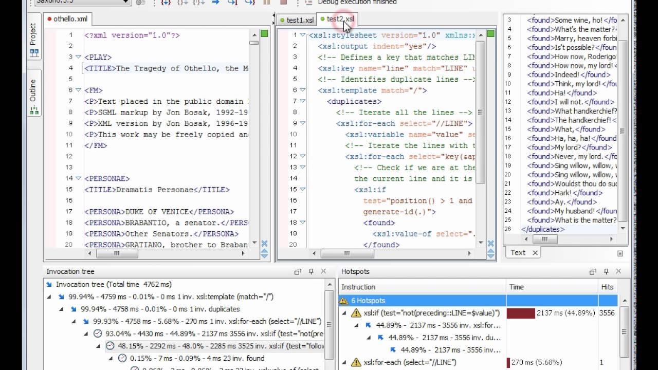 XSLT Profiling in Oxygen XML Editor 13 1