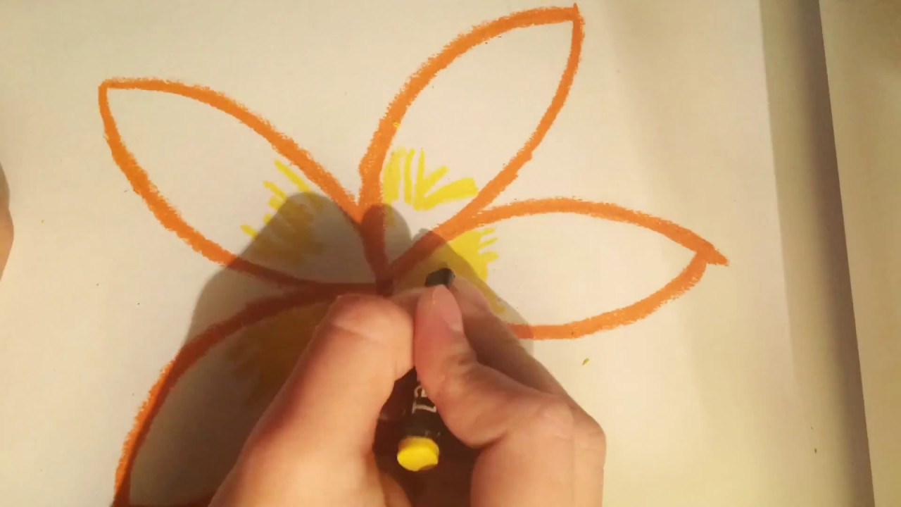 How To Draw A Easy Flower Using Oil Pastel