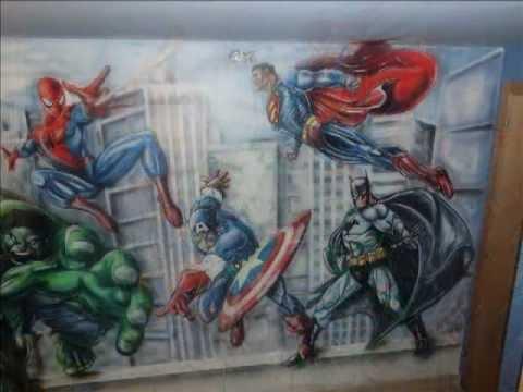 Super heroes mural infantil pintado youtube - Murales pintados en la pared ...