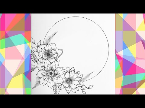 how to draw a beautiful flowers frame in 1 minute speed video| easy idea for beginners-Barira'sArt