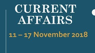 Latest General Knowledge MCQs, Current Affairs 11 - 17 November 2018, Latest GK November 2018