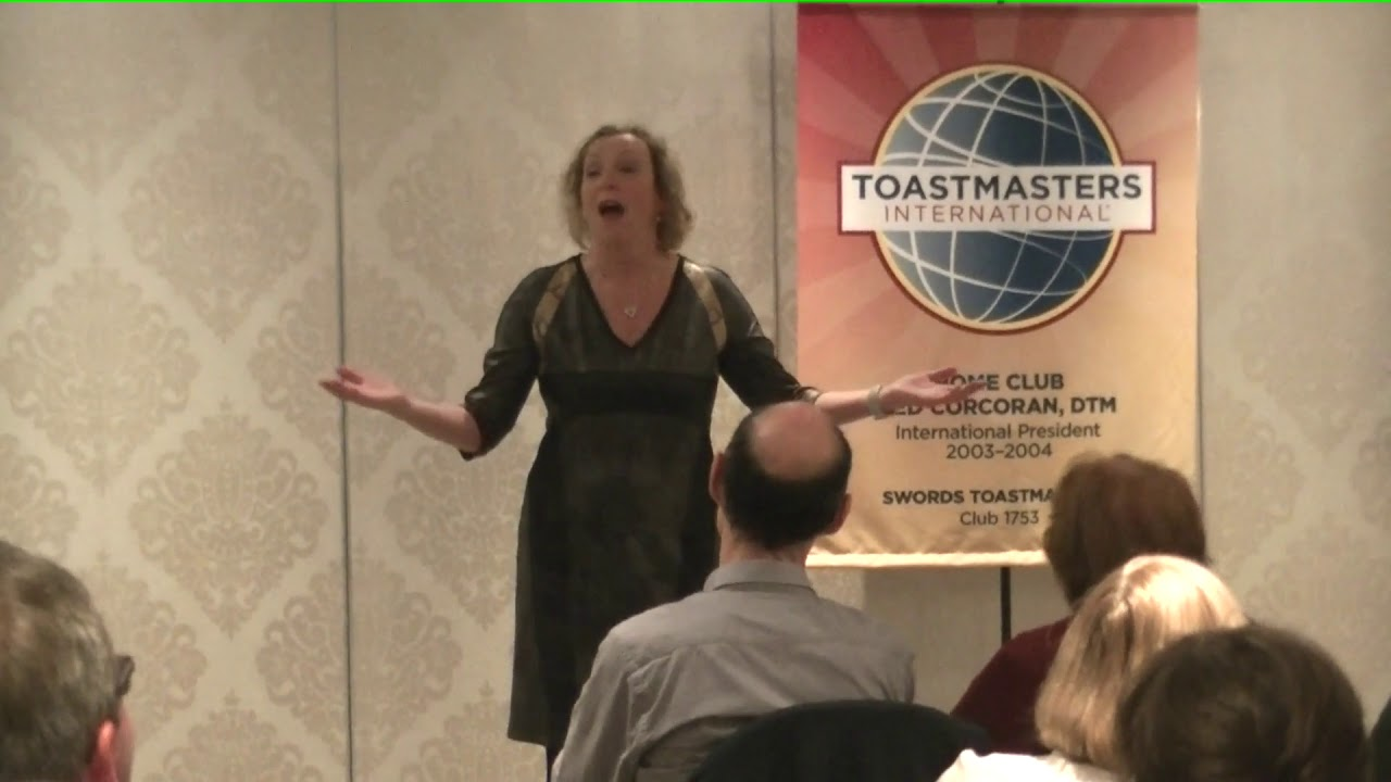 Eileen Hopkins -Area final of the humorous speech at Swords Toastmasters