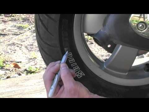 Filling in the Letters on Tire with Silver Sharpie Marker - YouTube