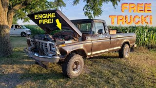BURNT Truck Revival?? 1979 F150 First Start Since ENGINE FIRE!