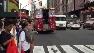 """AIR HORN ALERT"" - FDNY RESCUE 1 BLAZING THROUGH W. 42ND ST. WITH SOME MAJOR AIR HORN IN MANHATTAN."