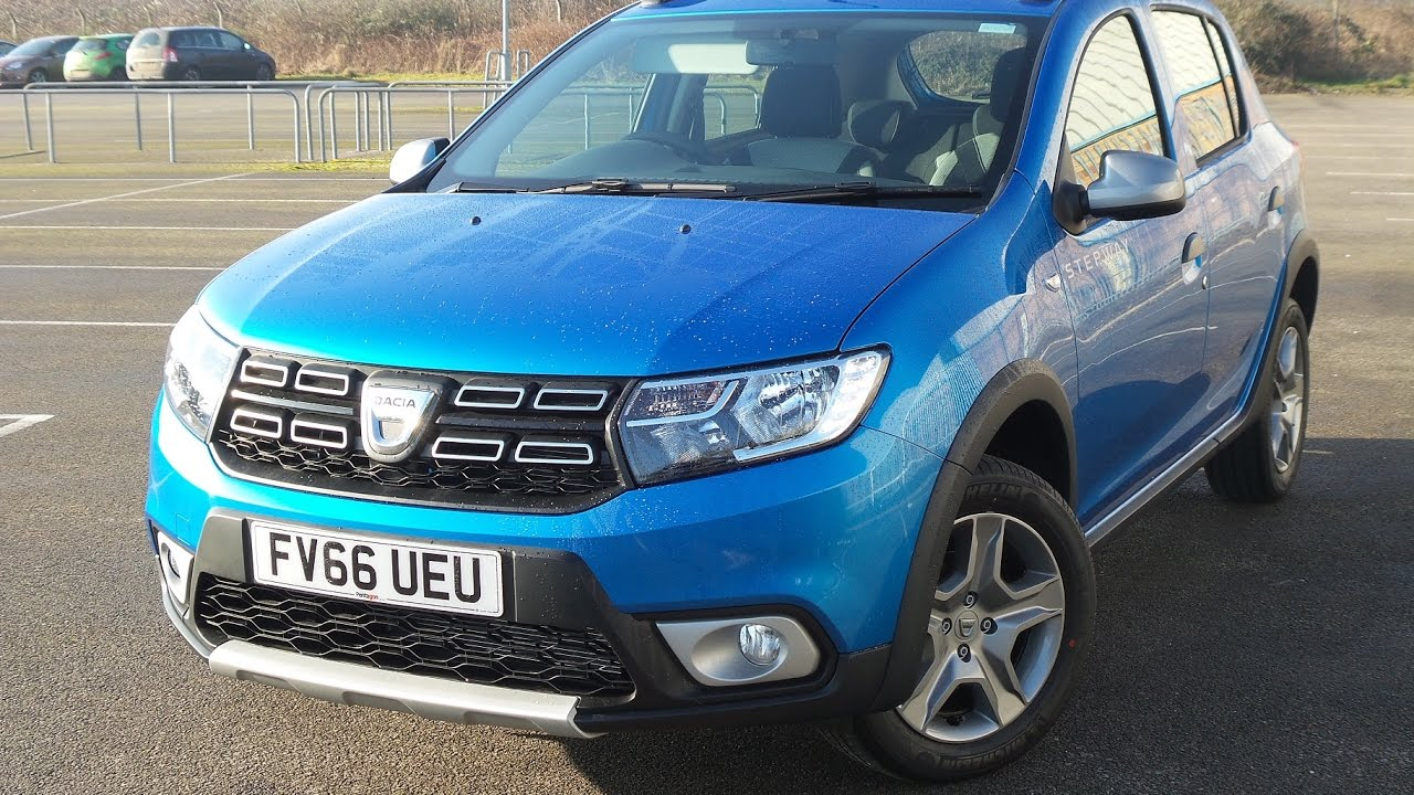 fv66ueu dacia sandero stepway 0 9 tce laureate 5dr in azurite blue demo youtube. Black Bedroom Furniture Sets. Home Design Ideas