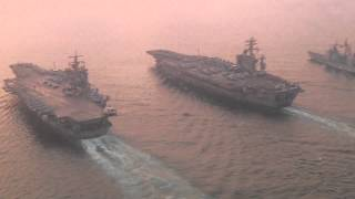 USS Enterprise and Eisenhower Aerial video