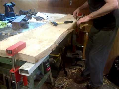 Stripping Bark For A Maple Live Edge Table Youtube