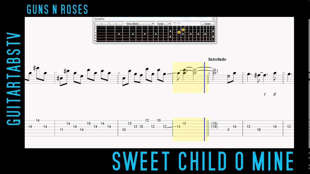 Sweet Child O Mine - Guns N Roses Slash LEAD Electric Guitar Tabs - YouTube