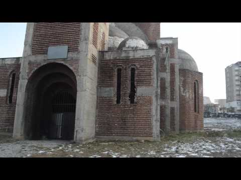 Pristina .... Unfinished Serb Orthodox Church and Kosovo  National Library