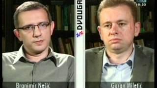 Dvougao - Branimir Nesic (Dveri) protiv Gorana Miletica (LGBT) - gej parada 2011 thumbnail