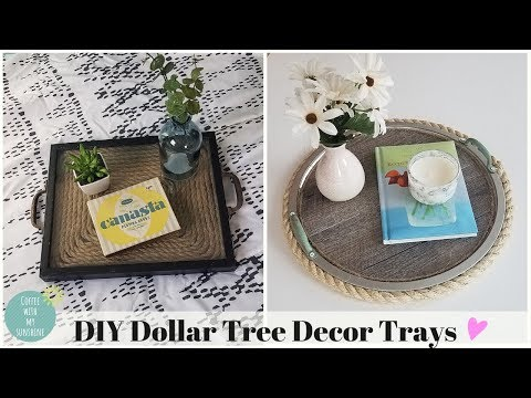 DOLLAR TREE DIY FARMHOUSE DECOR TRAY | FAUX WOOD | NAUTICAL COASTAL | VINYL PLANK