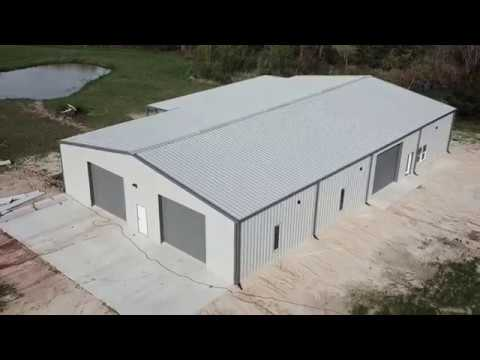 Ash Gray/Charcoal Barndominium - Aerial Footage