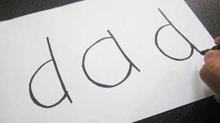 How to turn words DAD into a Cartoon ! Learn drawing art on paper for kids