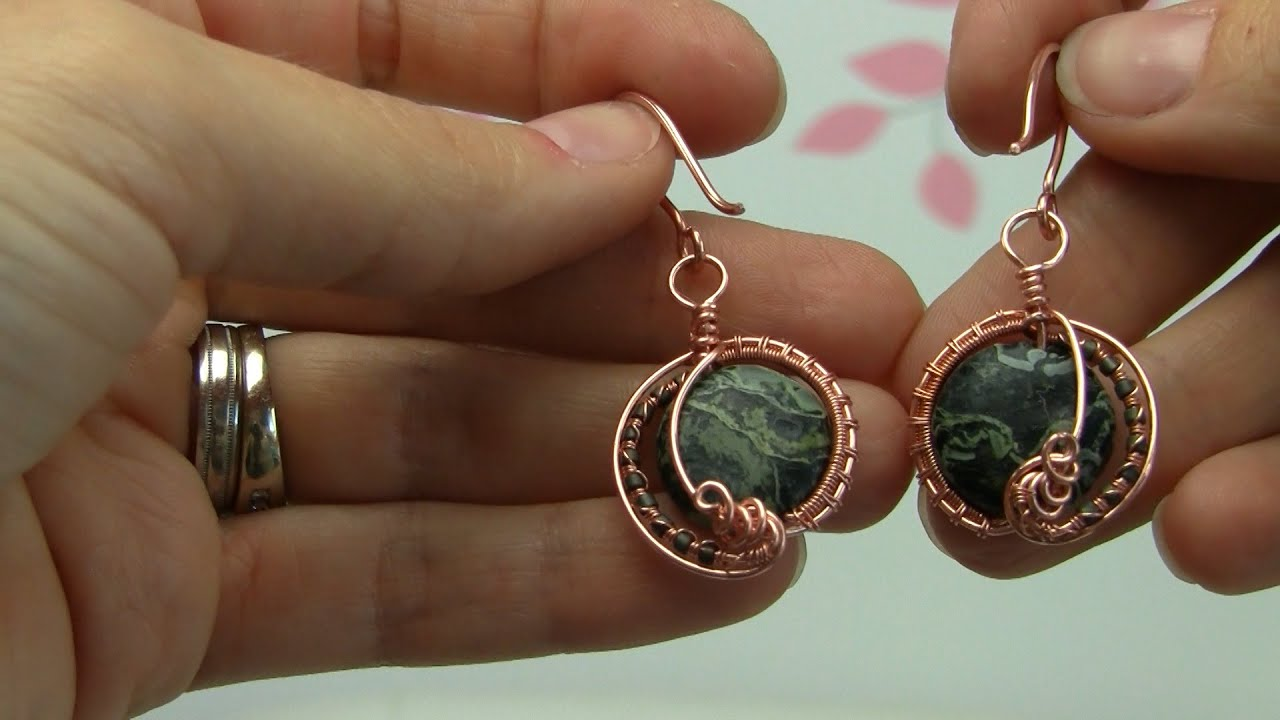 Beginner/Intermediate Wire Wrapped Gemstone Bead Copper Earrings ...
