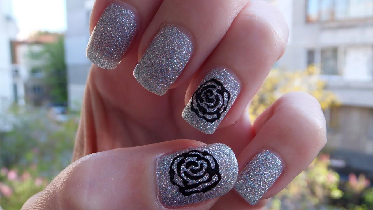 Easy Black Rose Nail Art Tutorial Youtube