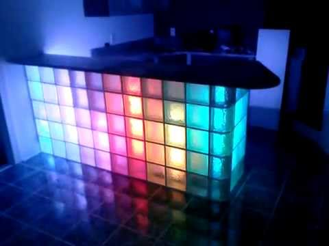 Vinces Vicious Cycles Built glass block bar with LED light