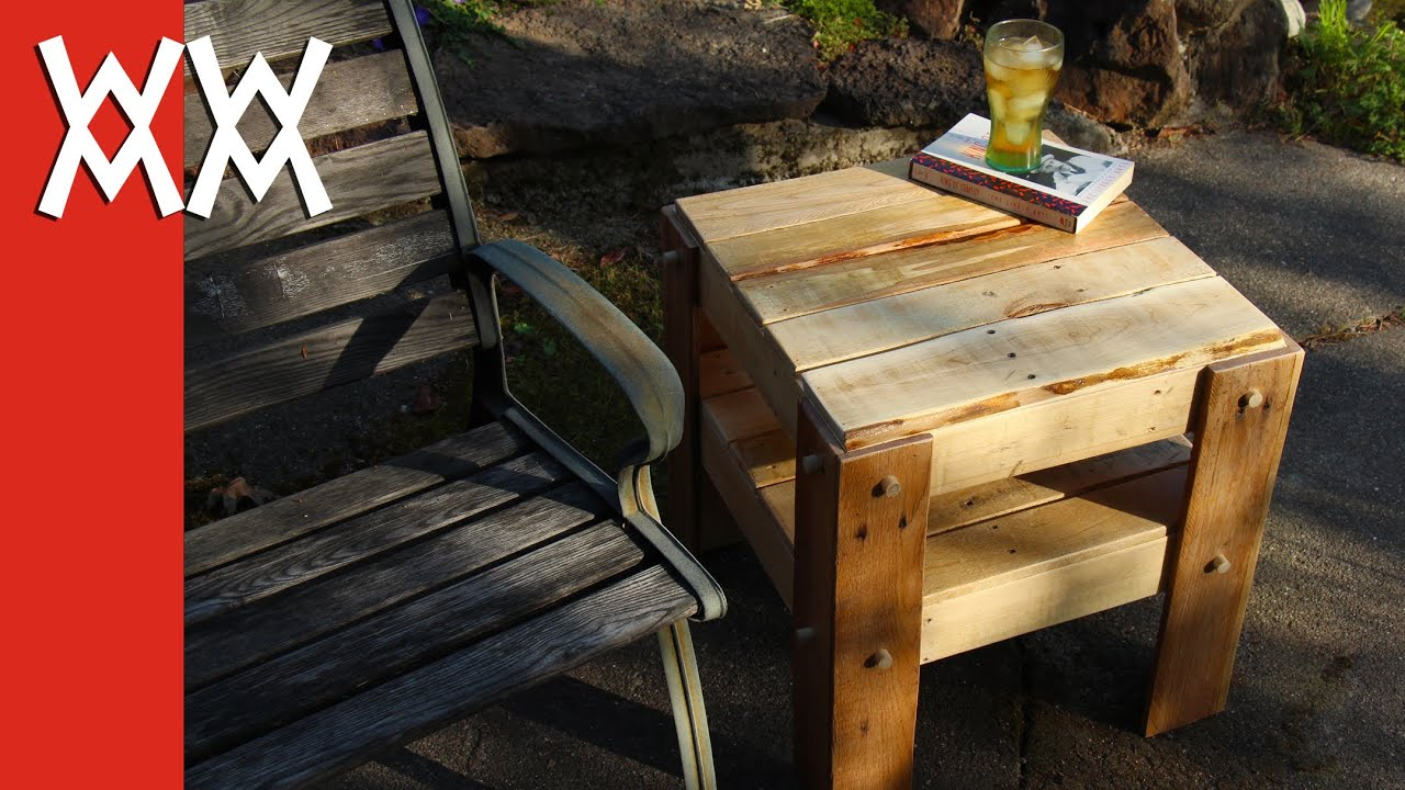 Diy rustic side table made from free pallets youtube geotapseo Image collections
