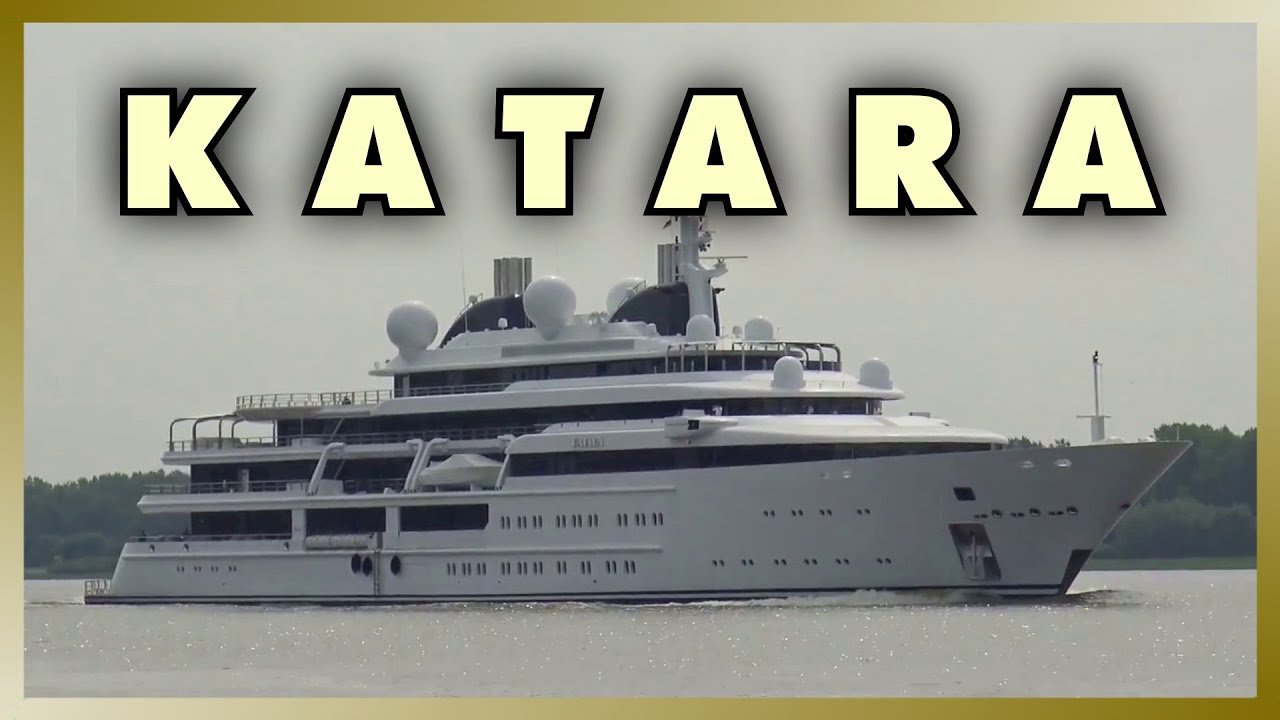 Mega Yacht Katara Outbound From Port Of Hamburg