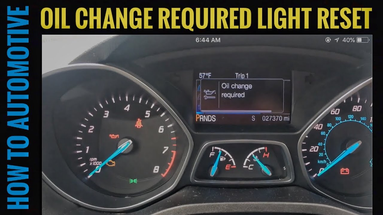 How To Reset The Oil Change Required Light On A 2015 Ford Escape