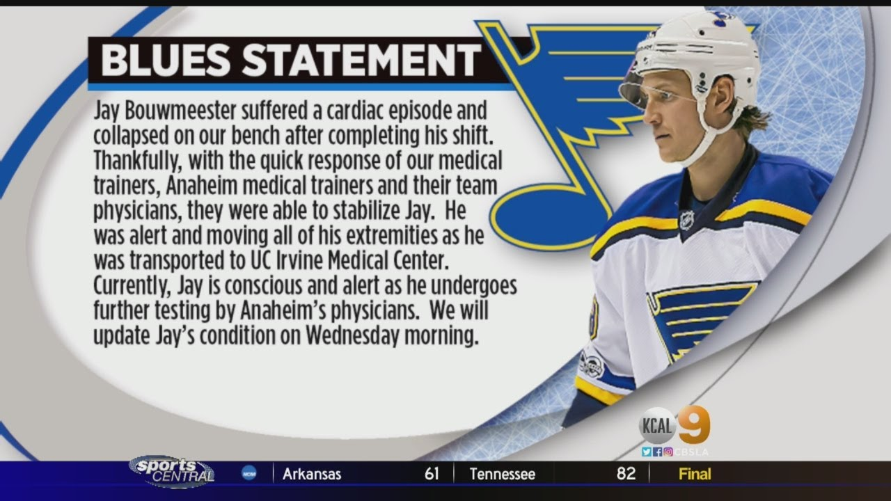 N.H.L. Game Postponed After Blues' Jay Bouwmeester Collapses on ...