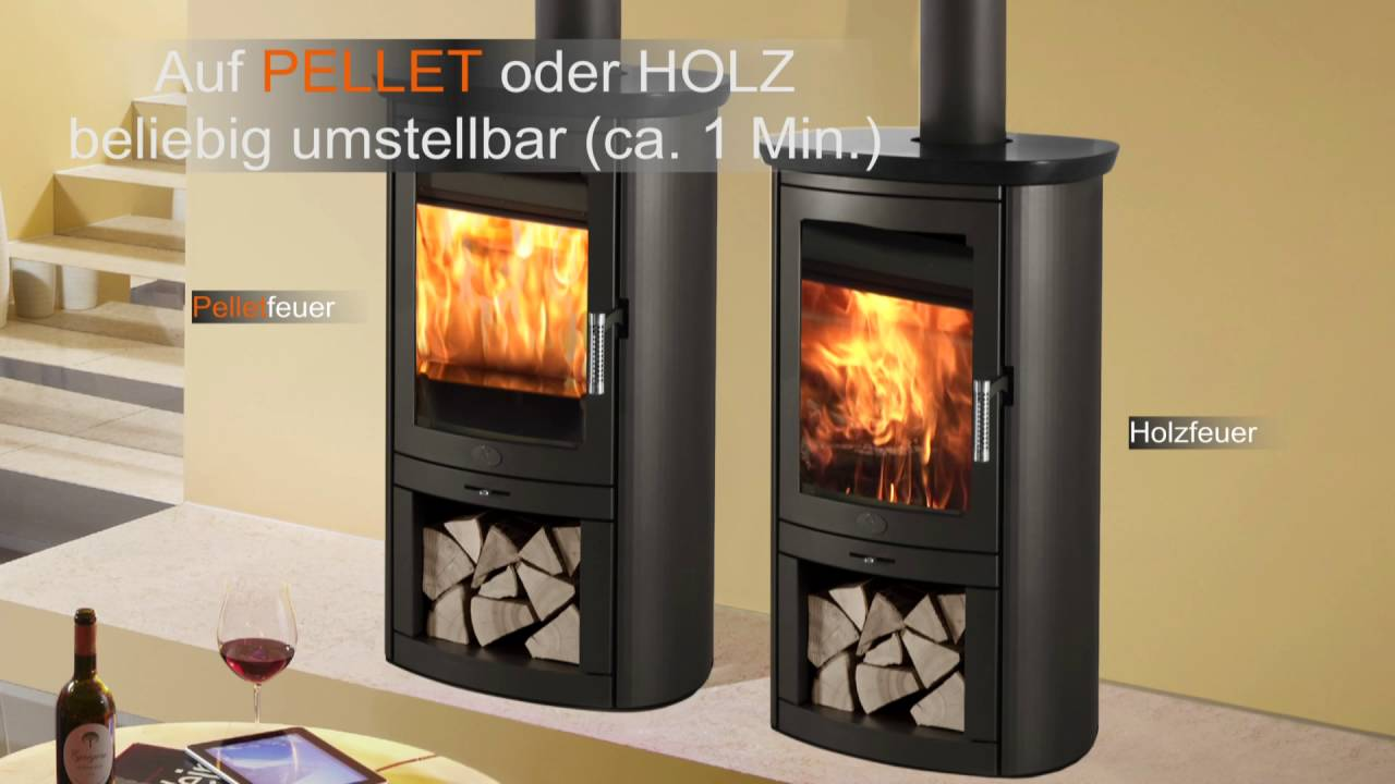 pelletofen oder kaminofen stromlos als stromloser pellet holz kombiofen youtube. Black Bedroom Furniture Sets. Home Design Ideas