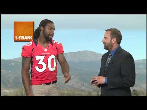 Broncos safety David Bruton does weather in studio