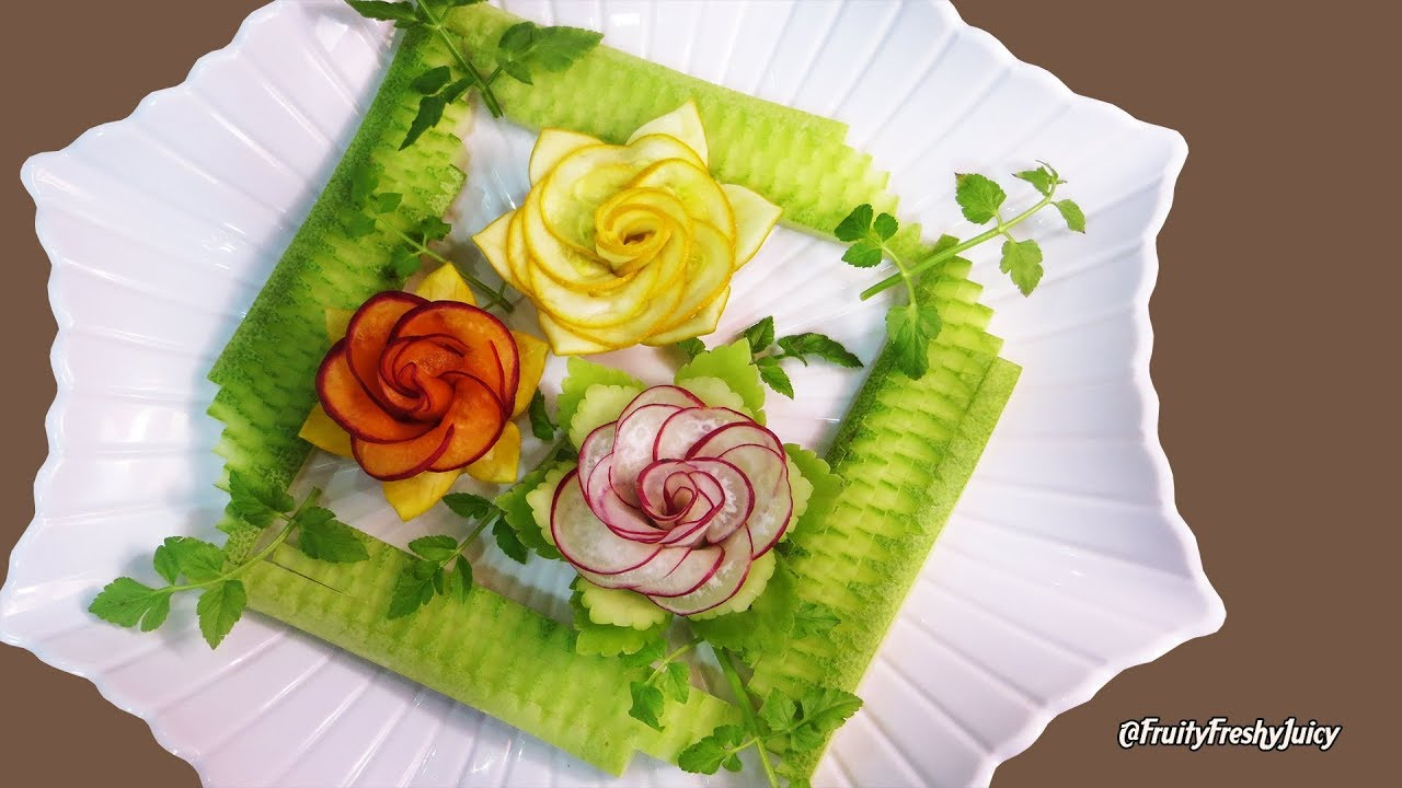 Most Satisfying Design of Vegetable Rose Garnish – Popular Video on YouTube