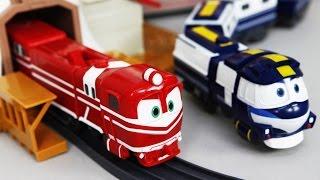 Robocarpoli tayo toy Robot Trains Toys House rail set Unboxing | CarrieAndToys