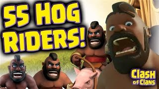"""Clash of Clans """"55 Hogrider Attacks"""" - Warning - You Asked For This 'Strategy'!"""