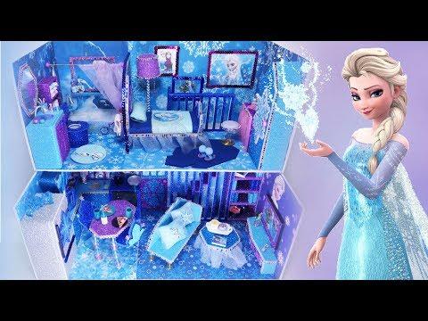 DIY Miniature Frozen Disney Dollhouse Bathroom, Bedroom Elsa Anna Part3 미니어쳐 돌하우스 겨울왕국
