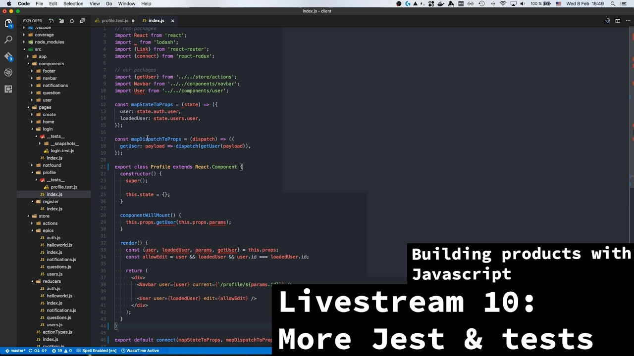 Building products with javascript - Livestream 10 - Redux and Jest testing