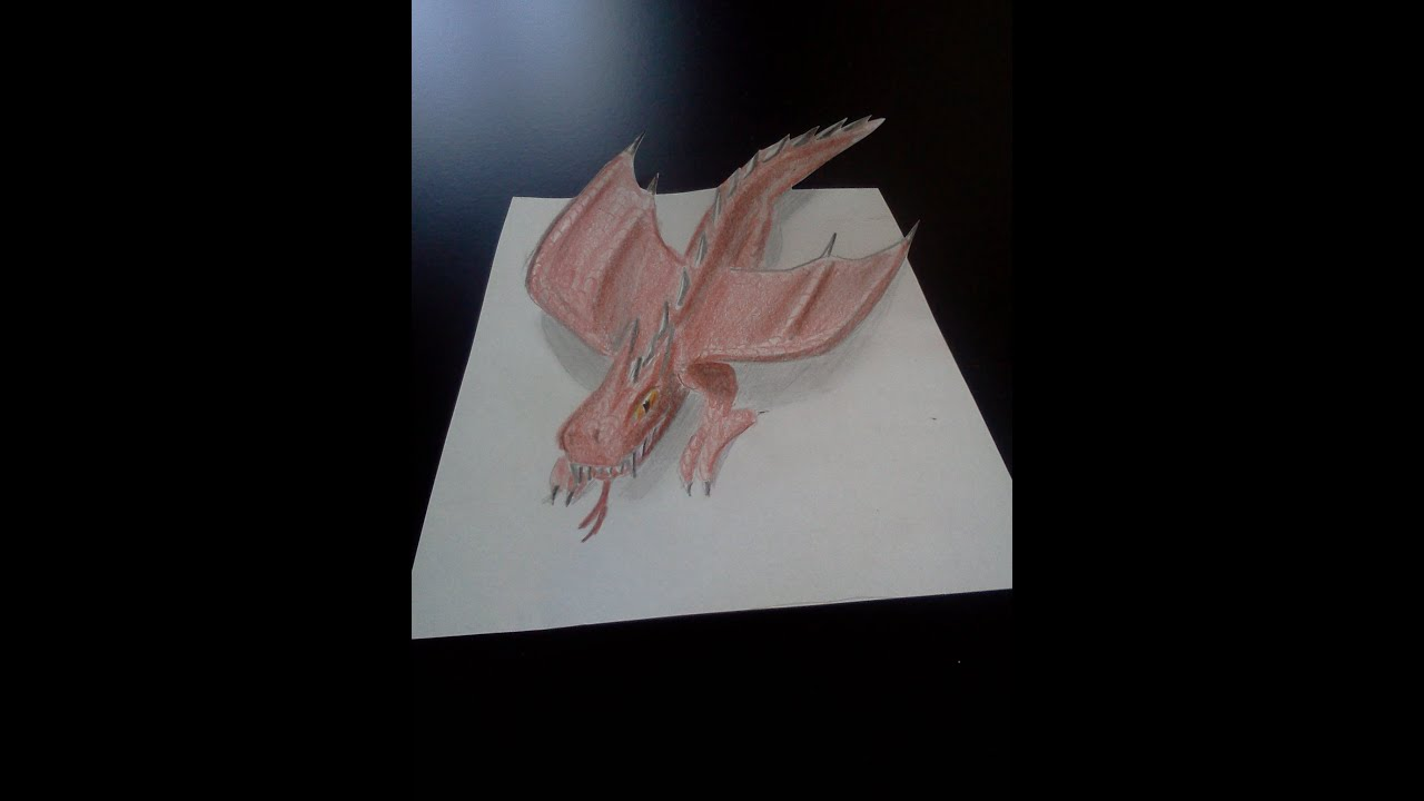 Dessiner un dragon en 3d illusion youtube - Dessiner dragon ...