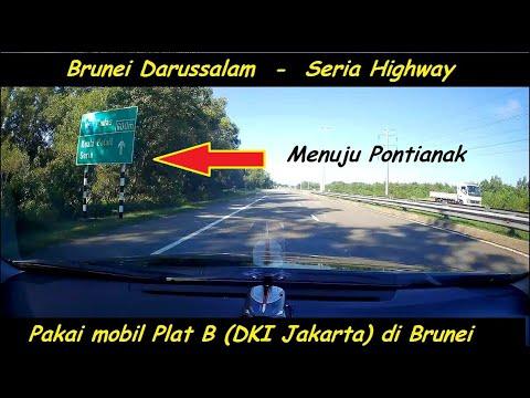 Indonesian car license  (B- Jakarta) at Seria Highway - Brunei Darussalam