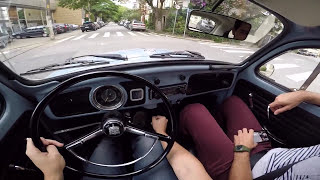 VW Fusca 1500 Bettle 1972 ESPECIAL MOTORES BOXER Test Drive Onboard POV