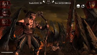 MKX MOBILE: BEAT BOSS KOSPLAY JACQUI BRIGGS ONLY USING WEAKEST SP1 AND WITH A TEAM IN DISADVANTAGE !