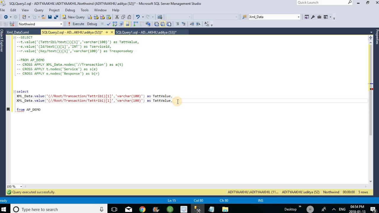 read xml from table in sql server