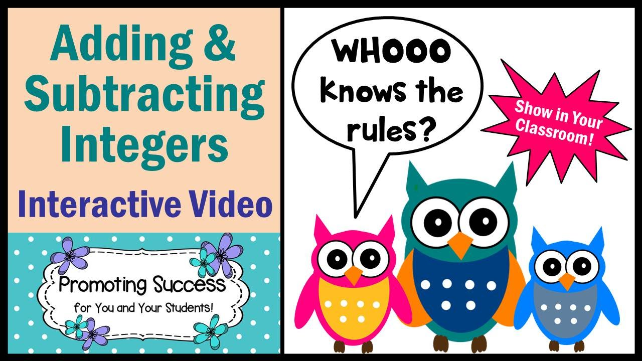 Worksheets Adding And Subtracting Integers Rules integers adding and subtracting rules math tutorial for kids special education video