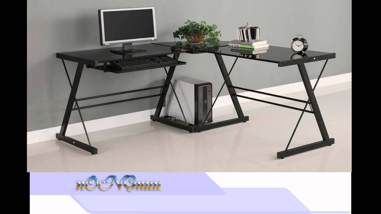 Walker Edison Soreno 3 Piece Corner Desk Black With Black