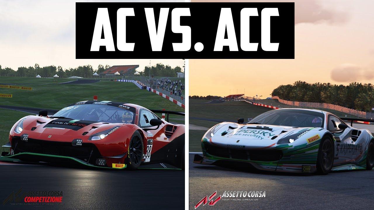 AC VS ACC Ferrari 488 GT3 Donington Park